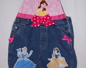 Custom boutique Disney Princess overalls shortalls all sizes available