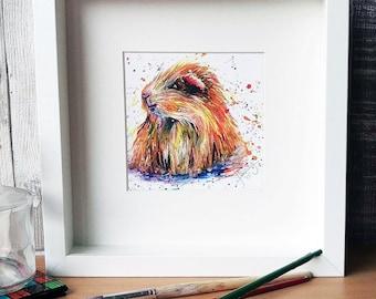 Guinea Pig PRINT, guinea pig painting, guinea gift, white box frame gift, Cavy print
