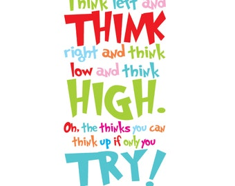Dr Seuss - Think Left and Think Right - Vinyl Wall Decal