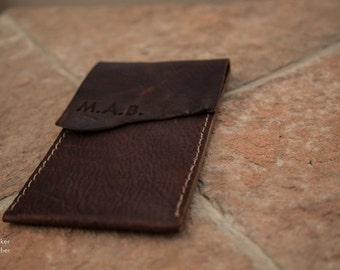 Leather iPhone Sleeve   Handmade in the USA   Personalized iPhone Sleeve