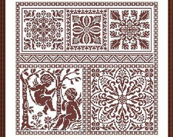 Italian fillet replica old pattern squares embroidery scheme based on the old magazines Filet Crochet