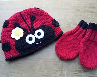 Baby Ladybug Hat & MItten Set, Ladybug Mittens, Baby Ladybug Hat, Baby Mittens, Winter Hat, Crochet Hats for Babies, Toque, Hat Mitten Set