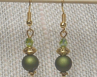 026E Green and Gold Earrings