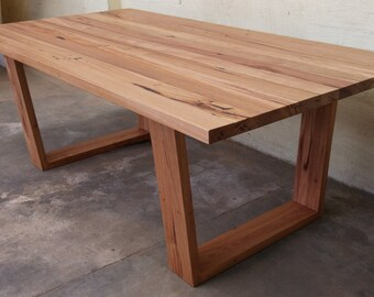 Recycled timber angled leg table