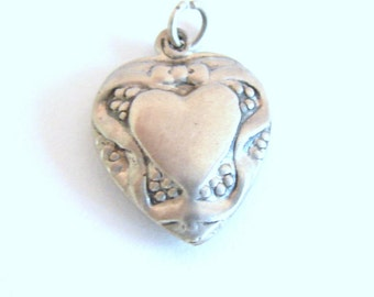 Vintage sterling silver Floral and Ribbon puffy Heart bracelet charm