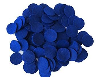 100 pc Blue 1 inch Felt Circles