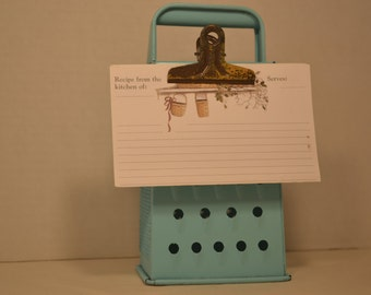 Vintage Upcycled Cheese Grater Recipe/Note Holder