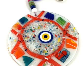 Glass Evil Eye Hanging Decoration - Colorful Evil Eye Home Decor - Nazar and Protection Decor - Sun-catcher Garden Decoration