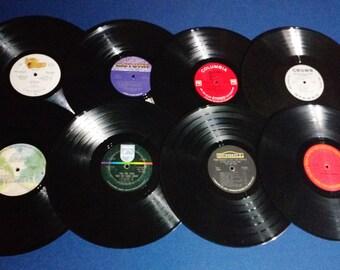 Set of 16 Vintage Crafting Vinyl, 12 Inch, Interesting Label Set #4 /DIY Coasters / Crafting Albums