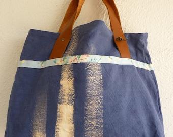 Tote Bag / Handbag over-dyed old sheet
