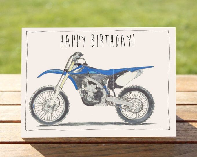 "Motorcycle Birthday Card Yamaha YZ450F Dirt Bike | A6 Measures: 6"" x 4"" / 103mm x 147mm A6"