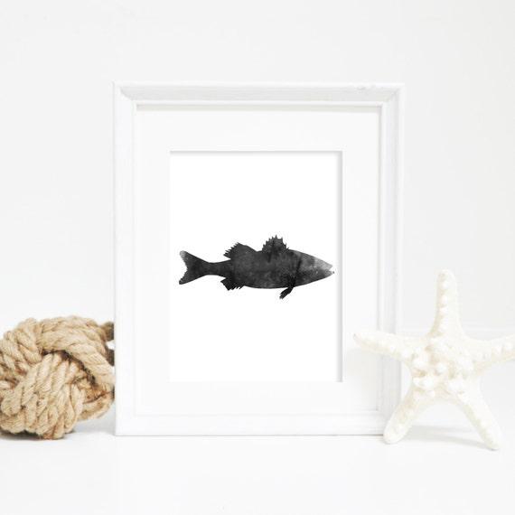 Fish Printable, Nautical Prints, Lake House Print, Fish Print, Black & White Fish, Sea Bass Print, Fish Poster, Nautical Decor, Bass Print