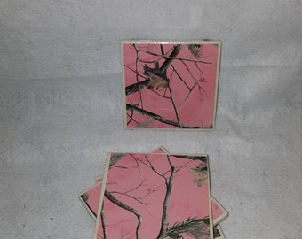 Set of 4 4x4 Ceramic Tile Pink Realtree 4 Coasters/Custom Coasters/Gifts For Her