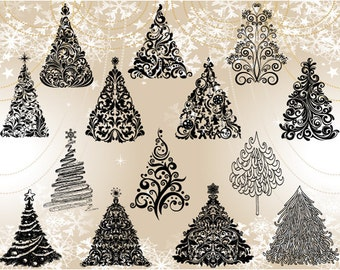 Instant Download Christmas Tree Clipart, Flourish Swirls Christmas Tree Clipart, Hand Drawn Christmas Tree Clip Art, Christmas Tree 0372