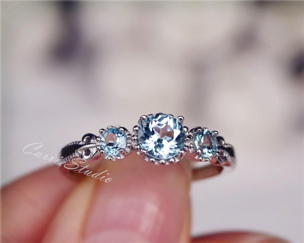 natural sky blue topaz ring topaz engagement ring wedding ring. Black Bedroom Furniture Sets. Home Design Ideas