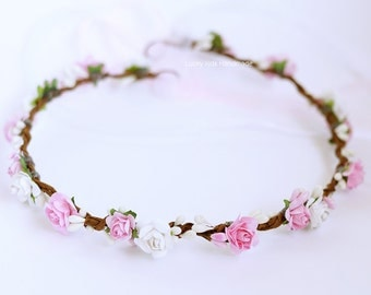 Pink flower crown, Pink and white halo, White and pink wedding floral hair wreath, Flower crown, Floral crown Headpiece, Flower girl wreath