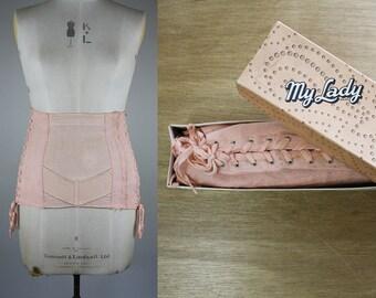 1940s Peach Corset / Corset with Original Box / Size Small / My Lady Corsetry / 50s Cotton Girdle / Waist Cincher