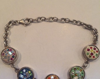 Sterling Silver 925 Chained Multicolor  Charm Bracelet