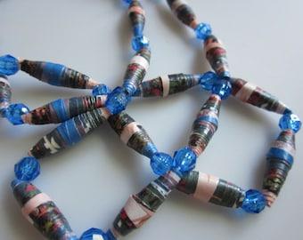 Blue Peach Green Paper Beads 30 inch strand