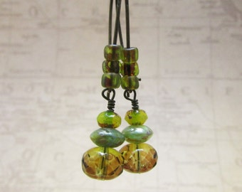 Czech Glass Rondelle Beads and Antique Brass Earrings