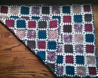 Handcrafted baby blanket--crocheted mini granny squares; Central Park, Fall edition