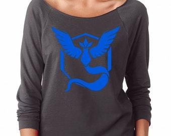 Pokemon Go Gym Team Mystic Blue Womens Long Sleeve Off the Shoulder Tee T Shirt Top