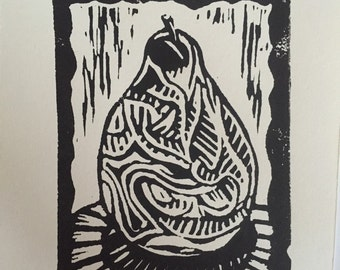 "Tiny Pear (4""x 3"" original hand-pulled linocut print)"