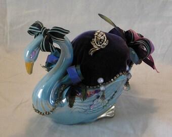 "handmade vintage ceramic swan planter ""Tuffet"""