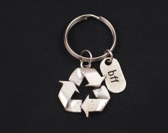 bff recycle symbol keychain, best friends forever, silver recycle symbol charm keyring, recycling key chain, save Mother Earth, eco friendly