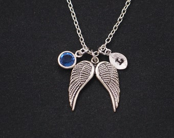 initial necklace, silver wing necklace, birthstone necklace, double wings charm, personalized gift, bridesmaid gift, valentines day gift