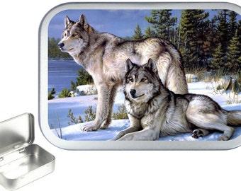 Wolf Portrait 1oz silver hinged tobacco tin,pill box,storage tin