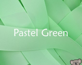 Pastel Green Grosgrain Ribbon 3 Metre Cut, FREE Shipping, 64 Colours in 7 Widths Available