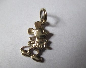 Vintage Disney 14k Gold Mickey Mouse Charm, 2D