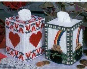 Valentines and St. Patrick's Day Tissue Cover patterns in Plastic Canvas