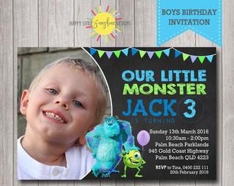 Custom Printable Boy Birthday Photo Invitation Any Age Monsters Inc  Mike Bunting