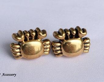 Vintage earrings, golden crab earrings