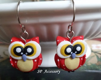Owl Earrings, clay dangle earrings, animal clay