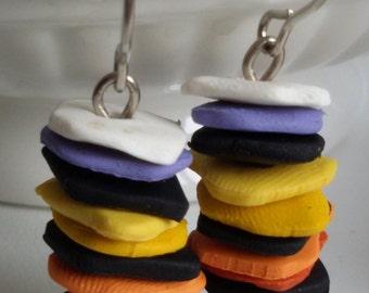 Colorful Clay Earrings, Fancy Earrings Clay, Tower Earrings, clay dangle earrings