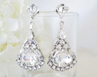 Swarovski rhinestone chandelier, Crystal drop wedding earring, Statement bridal earring, Unique Hollywood glam earring