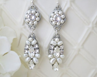 Wedding Earring, Art Deco pearl and rhinestone earring, Swarovski statement bridal earring, Crystal and Freshwater pearl wedding earring