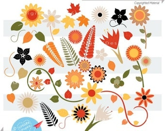 Autumn Blooms Clipart, Vector EPS, PNG, Orange Flowers Scrapbook, Fall Flowers, Sunflowers, Maple leaves, Fall Gardening, Mother's Day