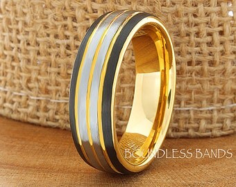 Tungsten Wedding Band Black Yellow Gold Gun Metal Tone Tungsten Anniversary Ring Promise Ring Comfort Fit 7mm Comfort Fit FREE Engraving