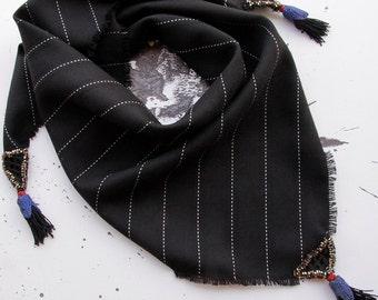 Triangle Scarf, Wool Scarf, Woven Scarf, Ethnic Scarf, Cosy Scarf, Black Scarf, Stripe Scarf, Scarves, Shawl, Wrap, Avant Garde, Brambuta
