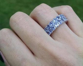 tanzanite eternity ring 480 cts - Tanzanite Wedding Rings