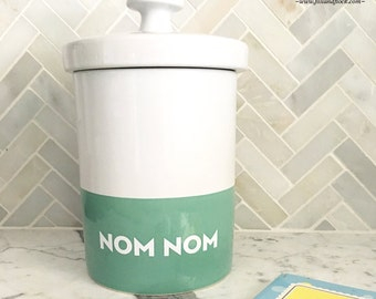 Personalized Dog Treat Jar, Personalized Cookie Jar, Colorblock Canister
