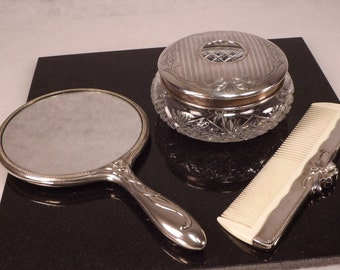 Hair Receiver,Silver Comb and Mirror