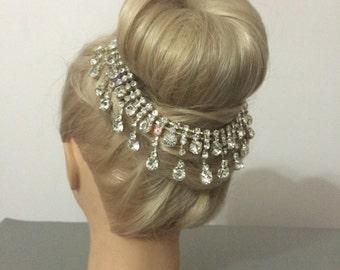 Silver  Hair Piece / Wedding Head Chain /Rhine stone hair piece / Crystal Head Piece / Hair accessories /Bridal Hair Clip / mode