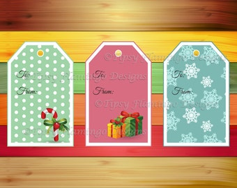 Christmas Gift Tags, Holiday Gift Tags, Festive, Gifts, Printables, Candy Cane, Gifts, Snow Flakes – Instant Download - TFD419