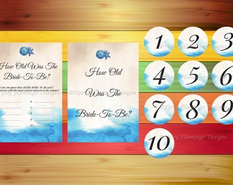 Bridal Shower Game, How Old Was The Bride-To-Be, Nautical, Ocean, Starfish, Sanddollar, Tropical Beach, Beach Theme, Instant Download - BDS2