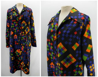 Vintage 70s Lanvin dress, 1970s Lanvin shirtdress, tetris pattern dress, graphic pattern dress